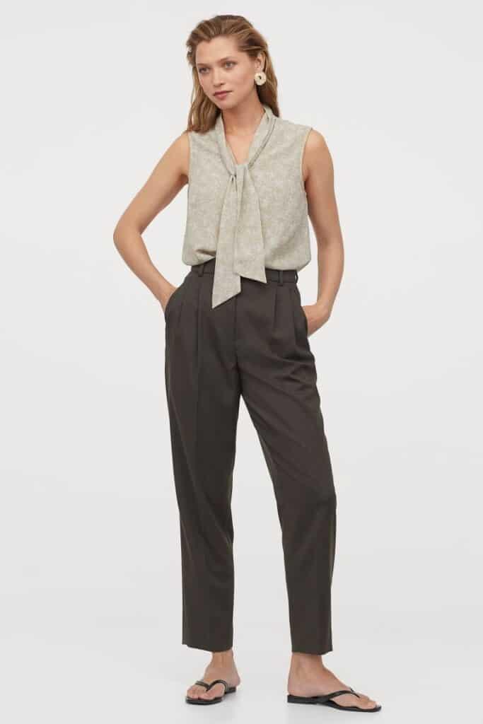 Morphologie En 8 Pantalon Fluide Droit Taille Haute