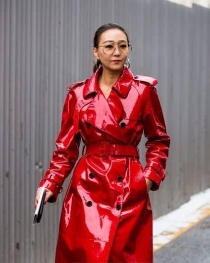 Tenue De Pluie Femme Manteau Cire Rouge Chic