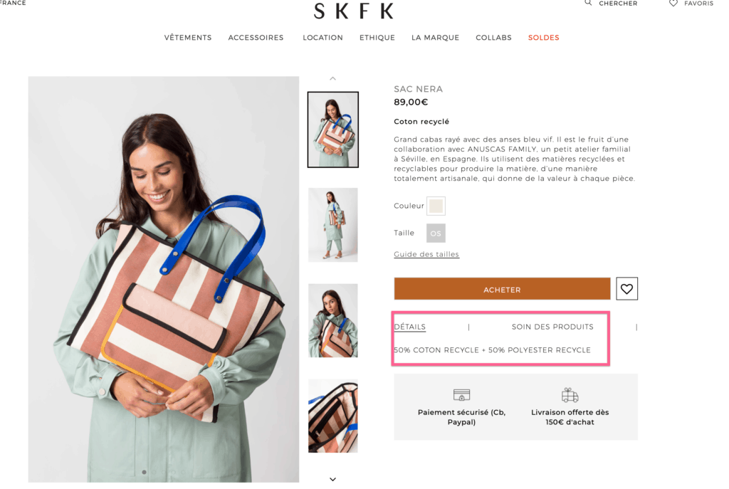 Skfk Marque Ethique Sac Coton Polyester Recycle, marque ethique, marque ethique skfk, skfk, slow fashion skfk, skfk robe, skfk robes, skfk en ligne, skfk soldes, skfk boutique, marque ethique pas cher, marque ethique petits prix