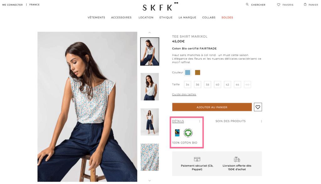 Skfk Marque Ethique T Shirt Coton Bio, marque ethique, marque ethique skfk, skfk, slow fashion skfk, skfk robe, skfk robes, skfk en ligne, skfk soldes, skfk boutique, marque ethique pas cher, marque ethique petits prix