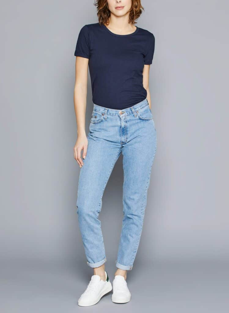 Marque jean éthique Made in France Atelier Tuffery, Mom jeans bleu clair