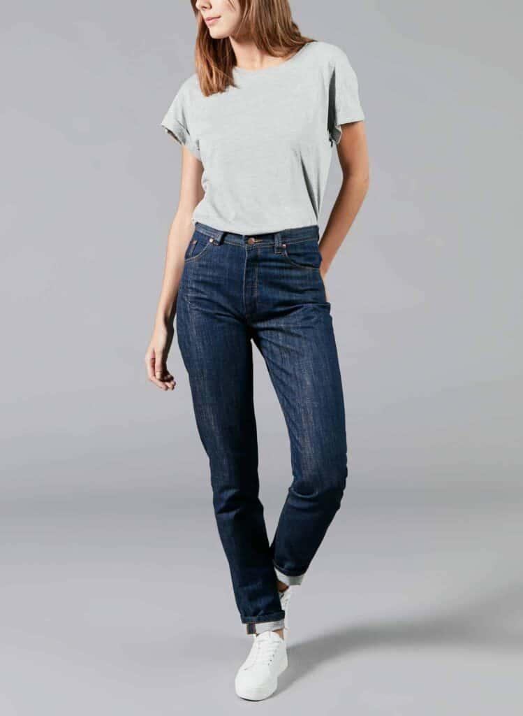 Marque jean éthique Made in France Atelier Tuffery, Mom jeans bleu foncé