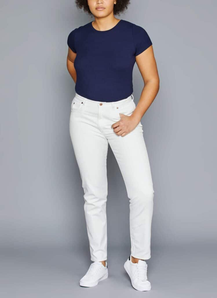 Marque jean éthique Made in France Atelier Tuffery, Mom jeans blanc droit