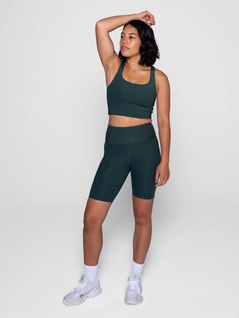 legging yoga sport ethique ecoresponsable weekendbee short vert