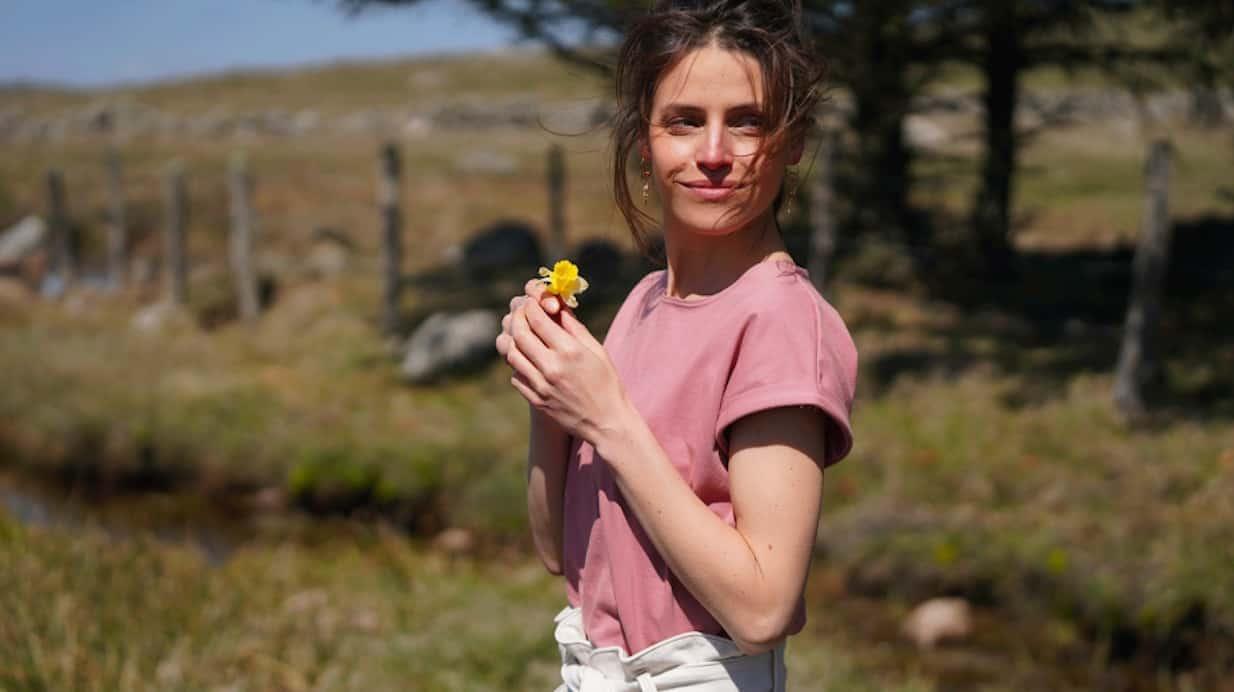 t shirt femme coton bio ethique manches longues col rond bordeaux uni made in france coton bio rose